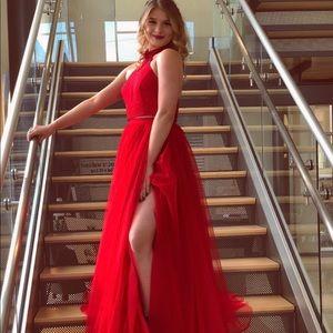 Sherri hill red slit prom dress
